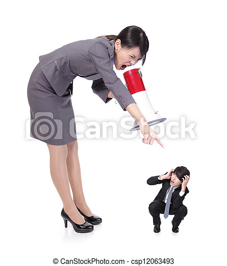 angry boss with megaphone yelling to Staff  - csp12063493