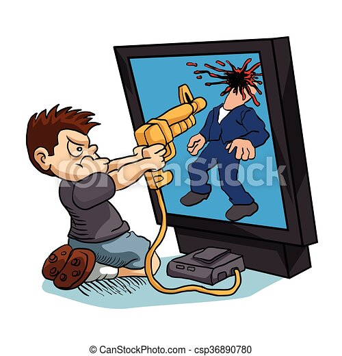 Angry boy playing a video game. vector illustration.