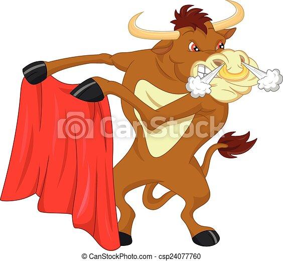 angry bull cartoon - csp24077760