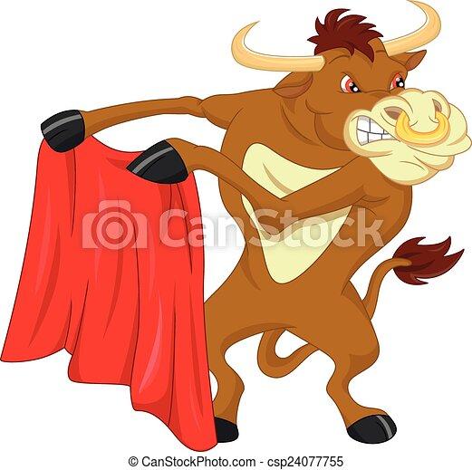 angry bull cartoon - csp24077755