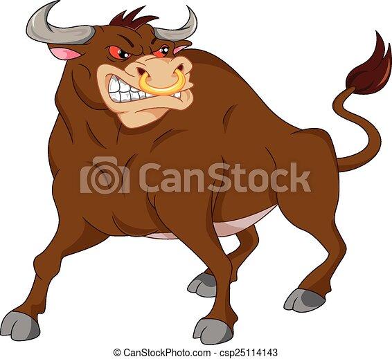 angry bull cartoon - csp25114143