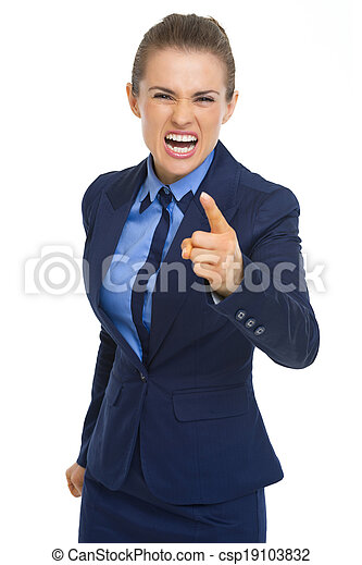Angry business woman threatening with finger - csp19103832