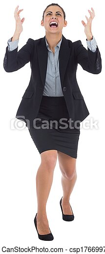 Angry businesswoman gesturing - csp17669971