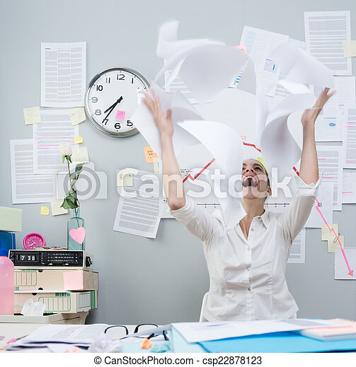 Angry businesswoman throwing paperwork in air - csp22878123