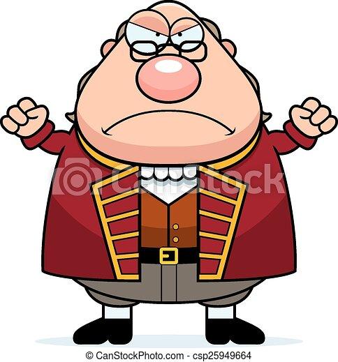 Angry Cartoon Ben Franklin - csp25949664