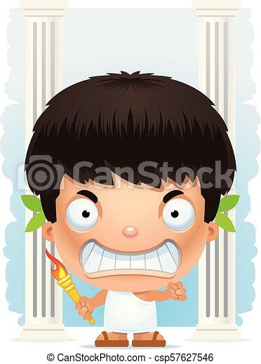 Angry Cartoon Boy Olympian - csp57627546
