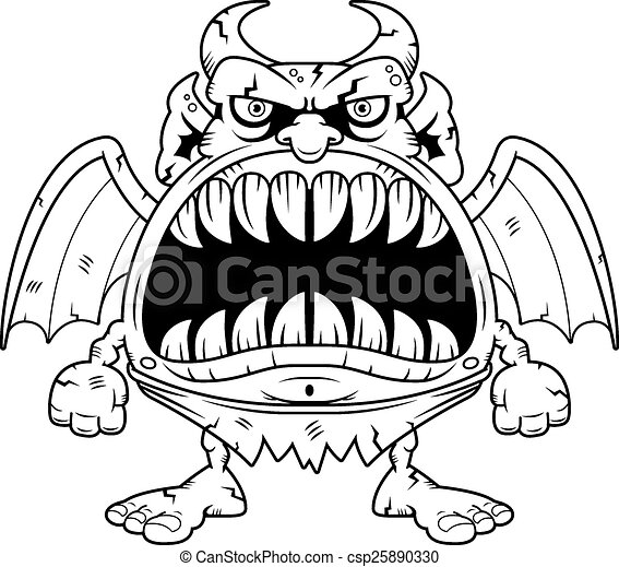 angry cartoon gargoyle a cartoon illustration of a gargoyle rh canstockphoto com