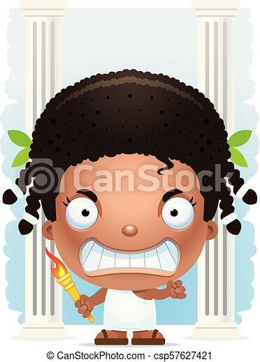 Angry Cartoon Girl Olympian - csp57627421