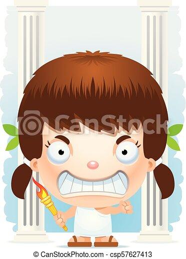 Angry Cartoon Girl Olympian - csp57627413