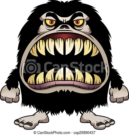 Angry Cartoon Hairy Monster - csp25890437