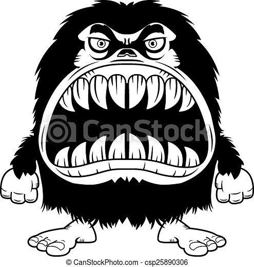 Angry Cartoon Hairy Monster - csp25890306