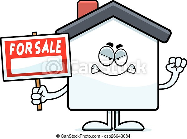 Angry Cartoon Home Sale - csp26643084