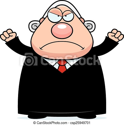 Angry Cartoon Judge - csp25949701