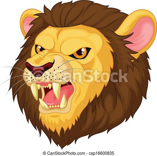 Angry cartoon lion head mascot - csp16600835