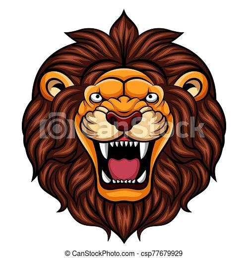 Angry cartoon lion head mascot - csp77679929