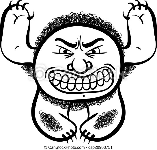 Angry cartoon monster, black and white lines vector illustration - csp20908751