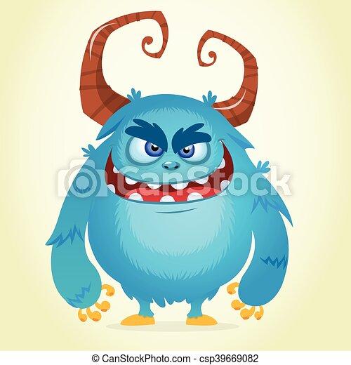 Angry cartoon monster - csp39669082