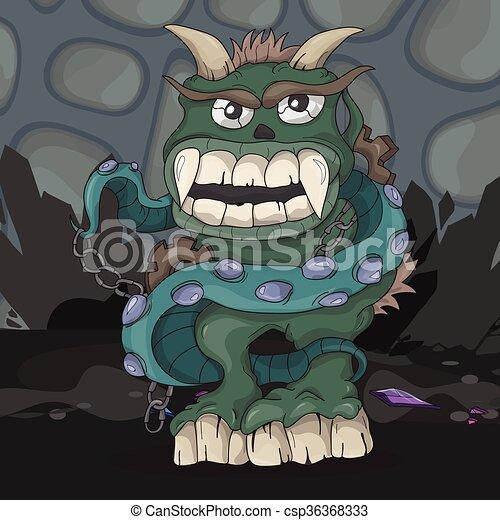 Angry cartoon monster - csp36368333