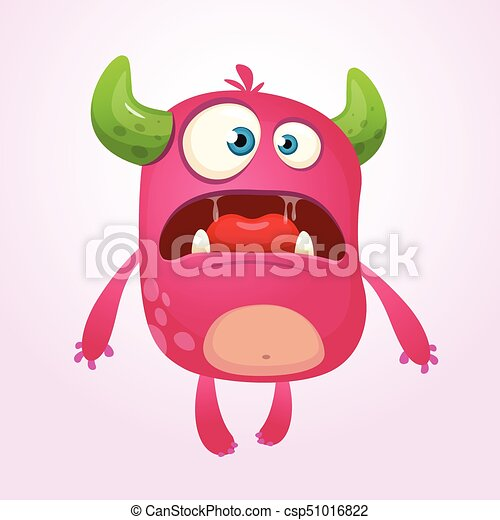 Angry cartoon monster. Funny monster face emotion. Halloween vector illustration - csp51016822