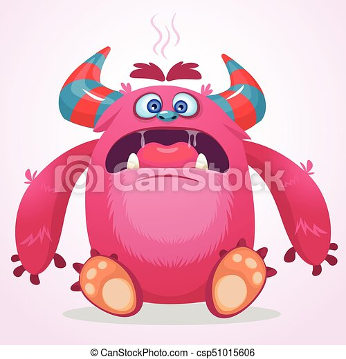 Angry cartoon monster. Funny monster face emotion. Halloween vector illustration - csp51015606