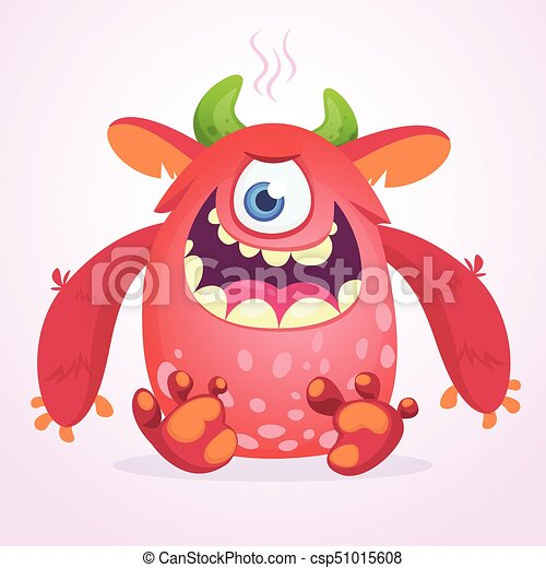 Angry cartoon monster. Funny monster face emotion. Halloween vector illustration - csp51015608