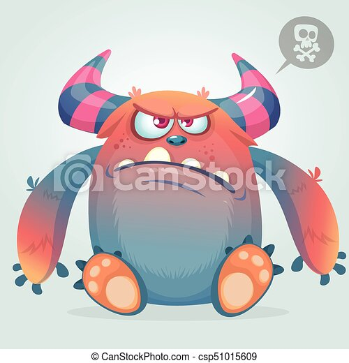 Angry cartoon monster. Funny monster face emotion. Halloween vector illustration - csp51015609