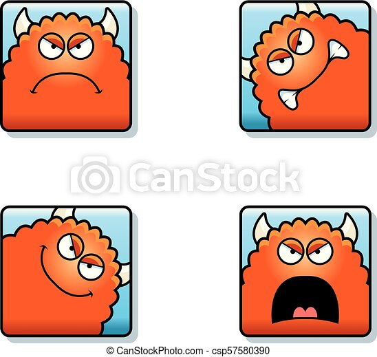 Angry Cartoon Monster Icons - csp57580390