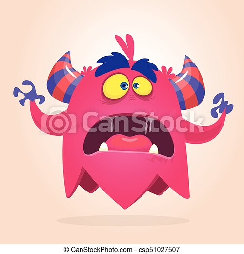 Angry cartoon monster pink and horned. Vector illustration - csp51027507