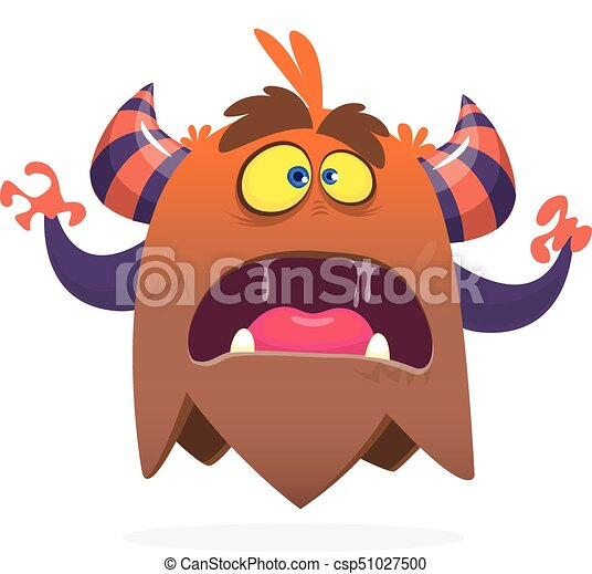 Angry cartoon monster screanimg. Yelling monster expression. Halloween vector illustration - csp51027500