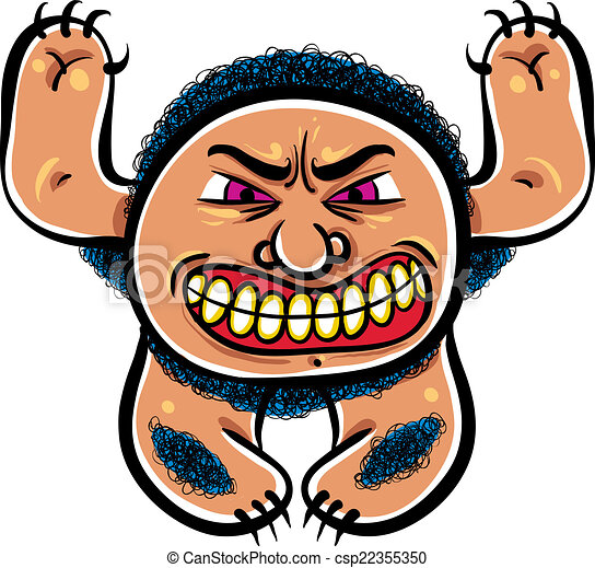 Angry cartoon monster, vector illustration. - csp22355350