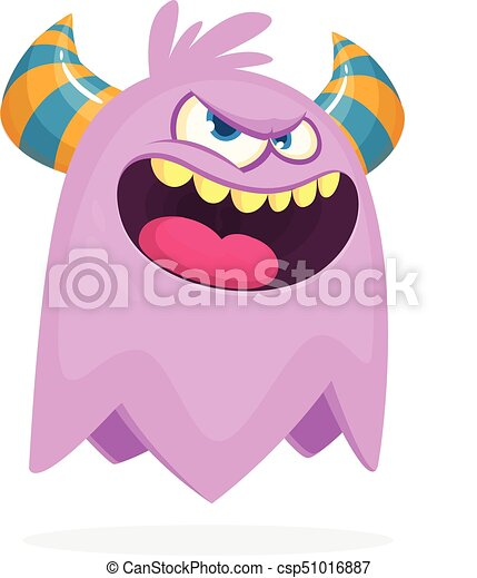 Angry cartoon monster with horns. Angry monster expression. Halloween vector illustration - csp51016887