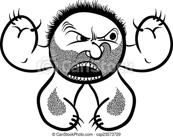 Angry cartoon monster with stubble, black and white lines vector - csp23573729