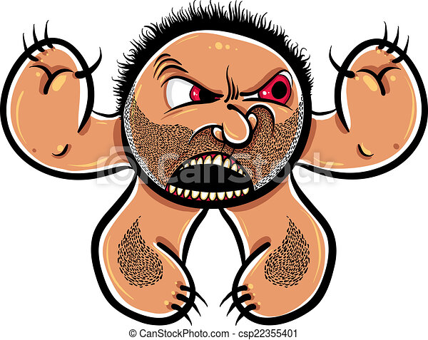 Angry cartoon monster with stubble, vector illustration. - csp22355401
