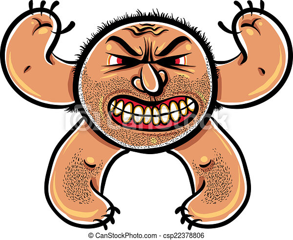 Angry cartoon monster with stubble, vector illustration. - csp22378806