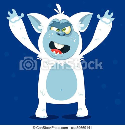 Angry cartoon monster yeti. Vector - csp39669141