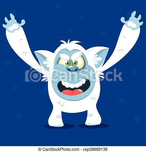 Angry cartoon monster yeti. Vector - csp39669138