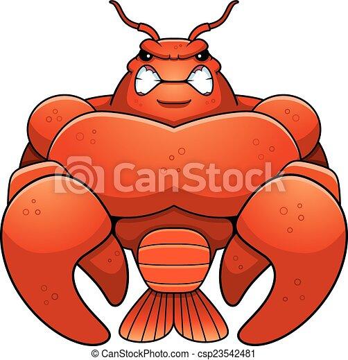 Angry Cartoon Muscular Crawfish - csp23542481