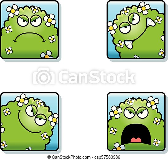 Angry Cartoon Plant Monster Icons - csp57580386