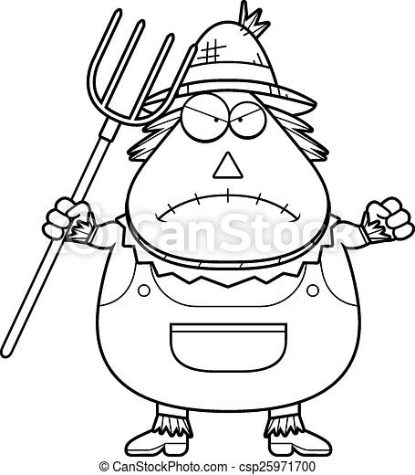 Angry Cartoon Scarecrow A Cartoon Illustration Of A Scarecrow