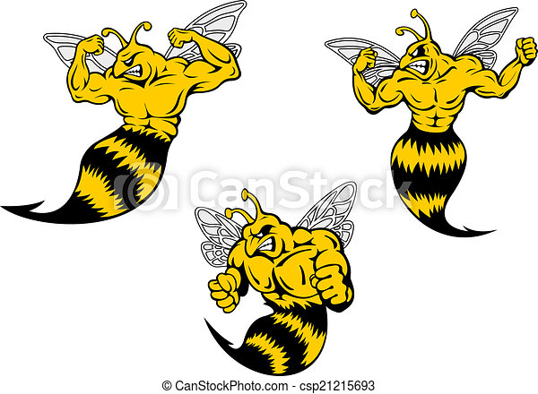Angry cartoon wasp or hornets with a sting - csp21215693
