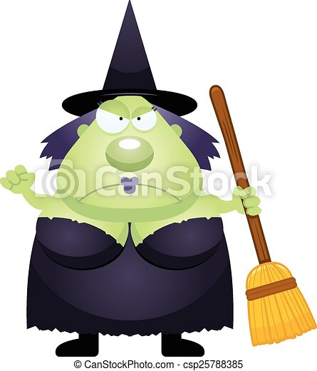 Angry Cartoon Witch - csp25788385