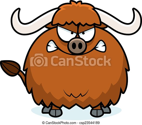 angry cartoon yak a cartoon illustration of a yak looking vector rh canstockphoto com