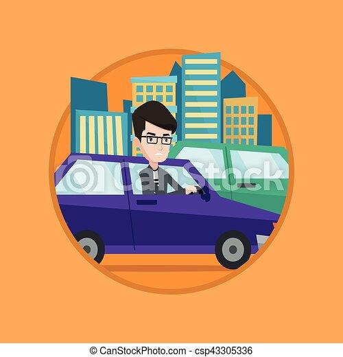 Angry caucasian man in car stuck in traffic jam. - csp43305336