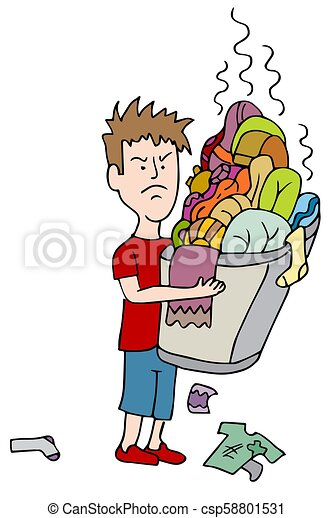 Angry Child Carrying Overflowing Basket of Dirty Laundry - csp58801531