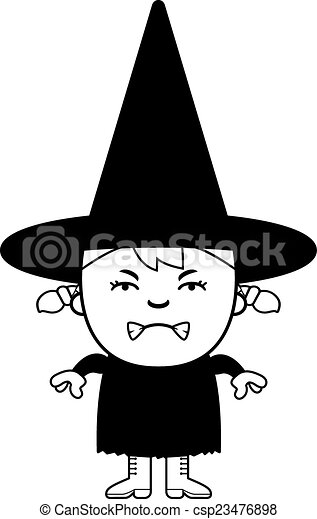 Angry Child Witch - csp23476898