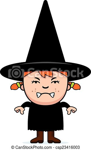 Angry Child Witch - csp23416003