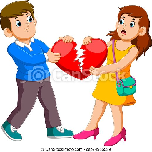Angry couple holding broken heart - csp74985539