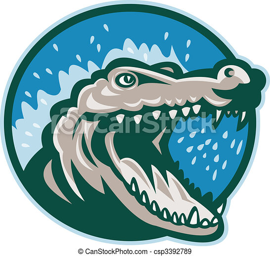 Angry crocodile or alligator head snapping set inside circle.  - csp3392789