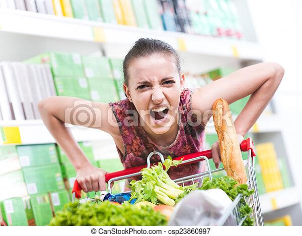 Angry customer at supermarket - csp23860997