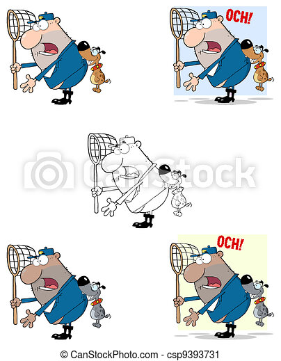 Angry Dog Biting A Dog Catcher - csp9393731